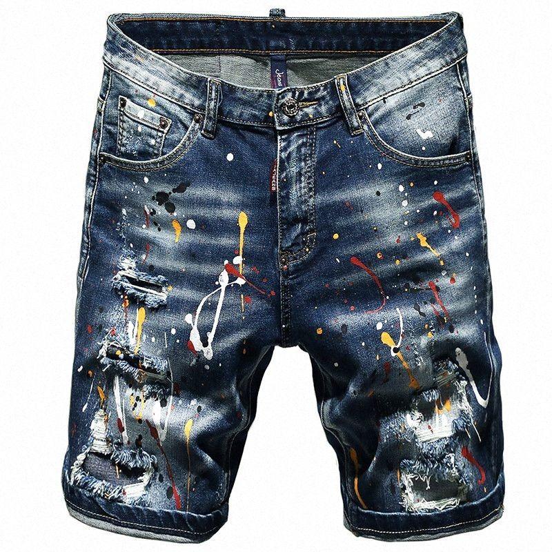 Лето Короткие джинсы Мужчины Ripped Torn Stretch Шорты Printed Мужской Лето New Hip Hop Streetwear Ручная роспись краской Пять штаны 85xr #