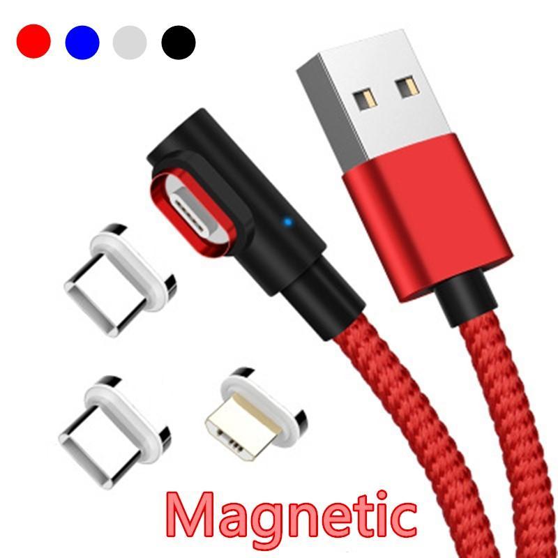 90 درجة المغناطيسي مايكرو USB كابل نوع C كابل بيانات شحن سريع لشاحن الروبوت microusb شحن خط شحن L- الخط.