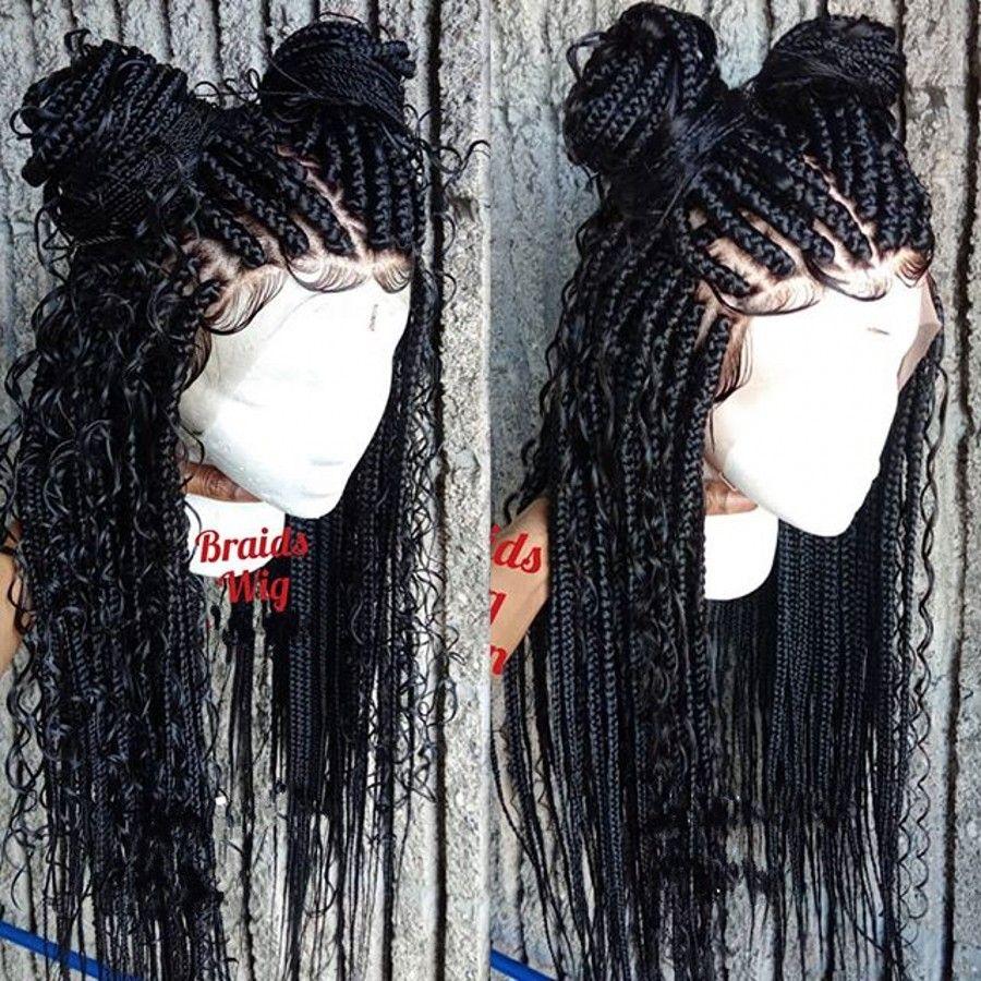 Mode 180densité Full Belle déesse Box tresses Dentelle Perruque frontale à la main Brody Braids Cornrow Wig pour femmes noires