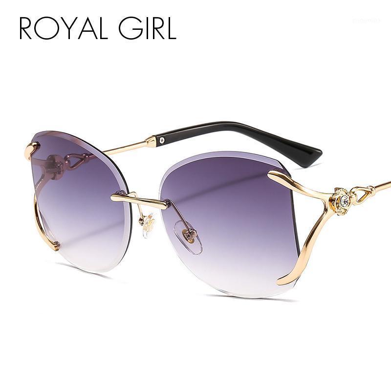 Occhiali da sole Royal Girl Fashion Rimless Square Quadrato Donne 2021 Diamante Decorazione Diamante Telaio in lega Occhiali da sole Occhiali Ocean Lenses Eyewear SS9681