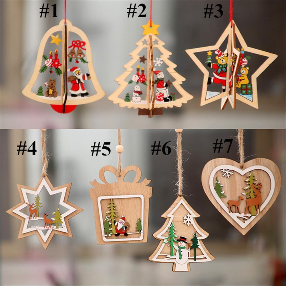 Hediye Asma Ucuz In Stock 2020 Noel Süs Noel tahta kalp Desen Yılbaşı Ağacı Süsleri Ev Festivali Süsler