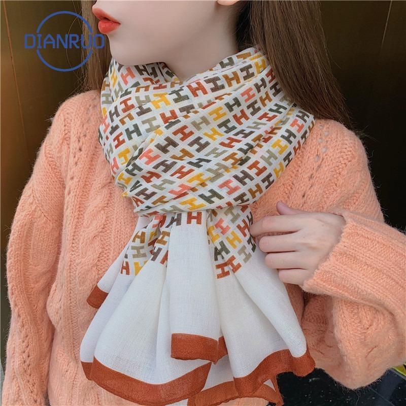 Per le donne Q355 inverno coreano lungo del DIANRUO Primavera Autunno sciarpa di seta dello scialle Moda Donna cotone sciarpa