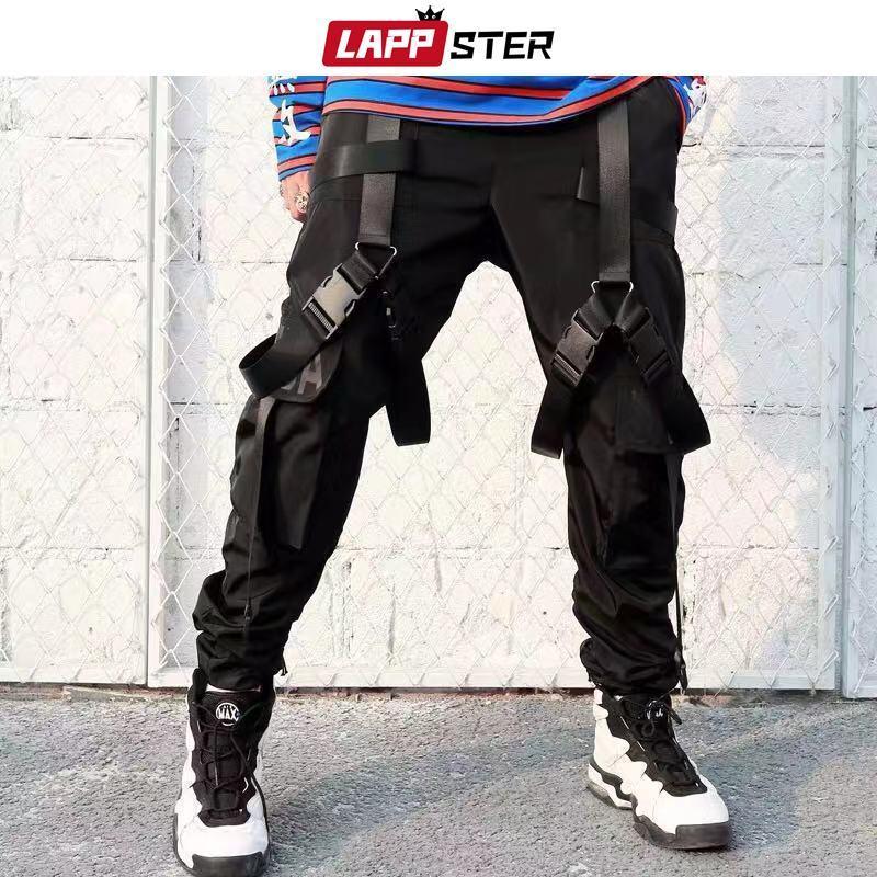 LAPPSTER 2020 Streetwear Hip Hop Rubans Joggings Pantalon cargo hommes de style japonais noir Fashions Casual Track Vêtements