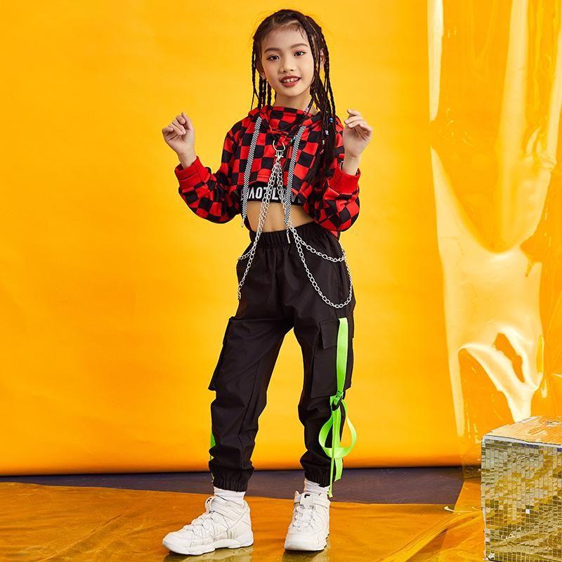 Kids Dance Costumes For Jazz Long Sleeve Tops Pants Hip Hop Clothing Girls Ballroom Stage Street Dance Performance Wear DNV11077