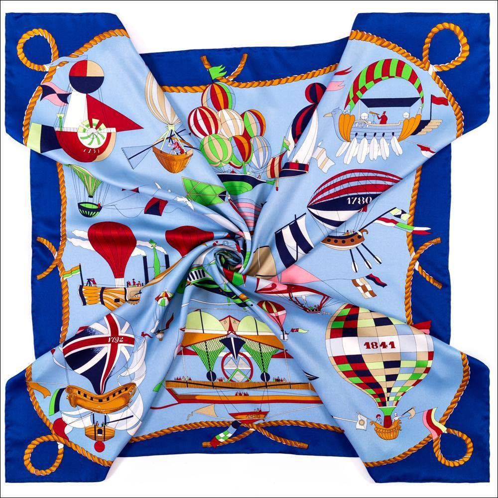 Teinture Echarpe Foulard Femmes Silk Grand Square Echarpe 90 * 90 Cartoon Imprimer Twill Reall Silk Foulards en soie à double face Bord laminé châle Pashmina Wrap
