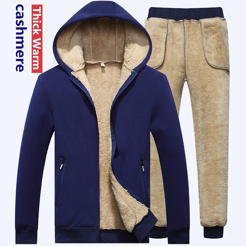 Hosenanzug Dicke Männer Hoodie Lamm Marke beiläufiger mit Kapuze Spur Anzug Fleece Warm Kaschmir-Winter-Sweatshirt
