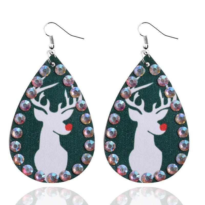 Heißen Verkaufs-Frau-Leder Weihnachten Ohrringe Bohemian Dame PU-Leder-Wasser-Tropfen-hängende Ohrringe Schmuck Weihnachtsfest-Geschenk DHL-freies Verschiffen
