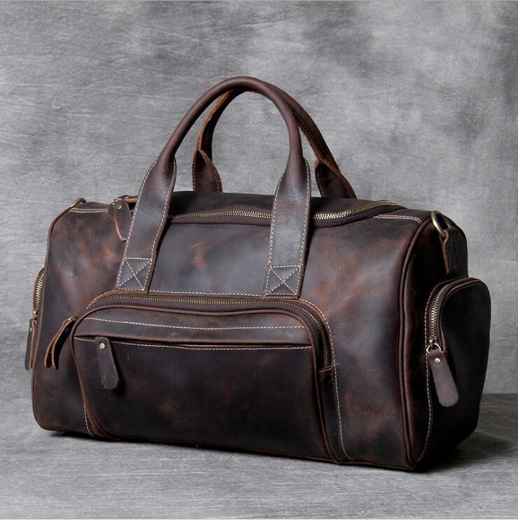 Duffel 가방 2021 패션 브랜드 디자이너 비즈니스 여행 가방 남자를위한 야외 정품 가죽 구두 더플 남성 커피 블랙