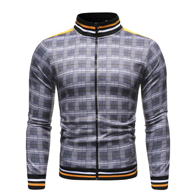 Abrigo a cuadros de béisbol primavera casual moda rayas de alta calidad streetwear bomber chaqueta hombres