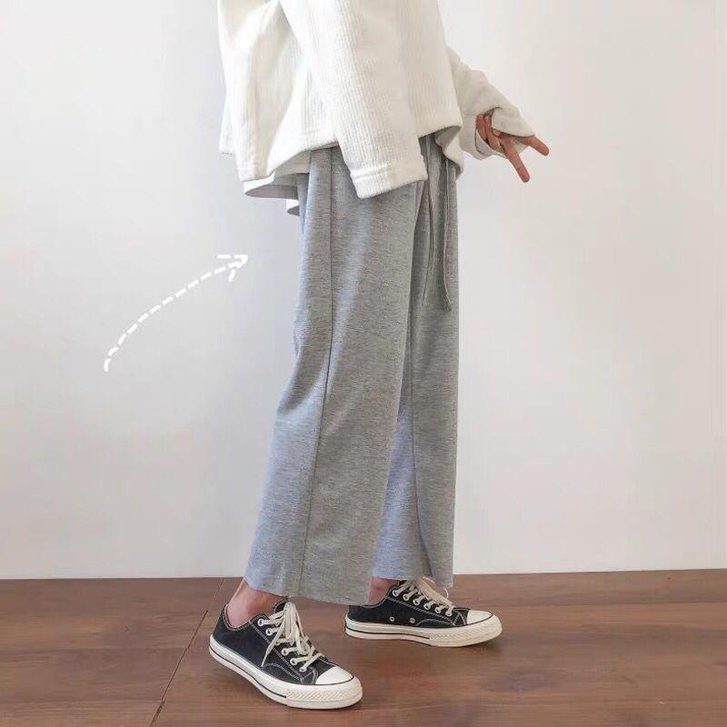 m1iQ3 падение чувства широкого ноги мужских Корейские мод повислых Широкий хулиганских каприте спортивные модули потерять универсальный Прямотрубные штанину и красивую