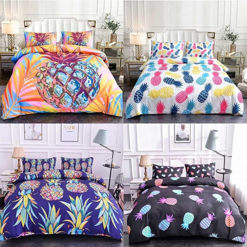 Homesky Pineapple Pattern Пододеяльник Queen Size Plant Главная Постельные принадлежности Обложка Single Постельное белье King Bed Set Пододеяльник Дешевые Одеяло наборы C e9yK #