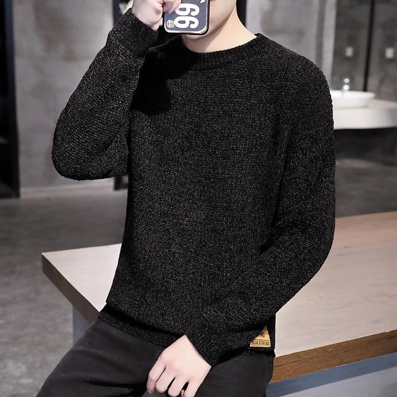 2020 New Men's Sweaters crewneck Long Sleeve Knitted Sweaters Needle Knitting soild color Warm Fit Sueter Hombre for