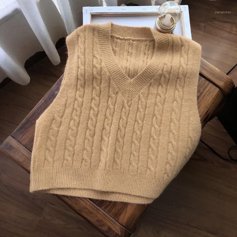 Moda mujer suéter chaleco sólido estilo coreano chaleco chaleco estudiante con cuello en V jersey suelto casual tejer tops de punto exterior ropa exterior Venta caliente1