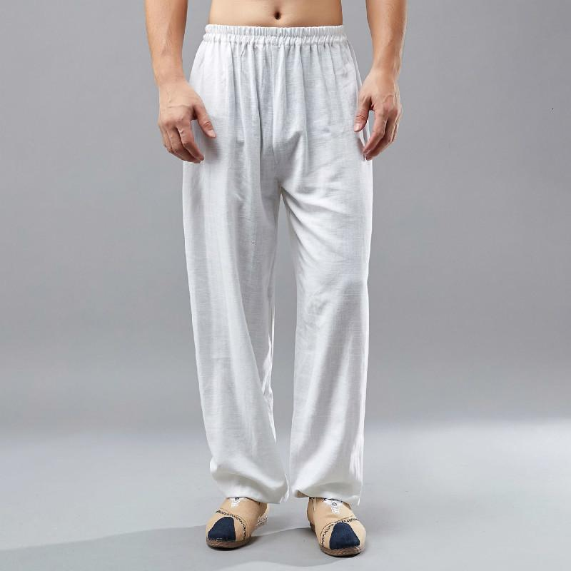 Primavera 2019 Nuevo Hombre Pantalones de algodón sueltos Pantalones de hombre estilo chino Cintura elástica Pantalones rectos Tallas grandes Ropa D742