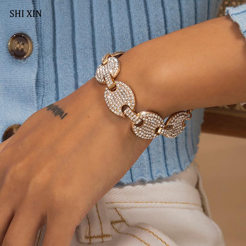 SHIXIN Hip Hop Adjustable Coffee Bean Iced Out Bracelet for Women/Men Charms Bling Rhinestones Bracelets Hand Chain Jewelry 2021