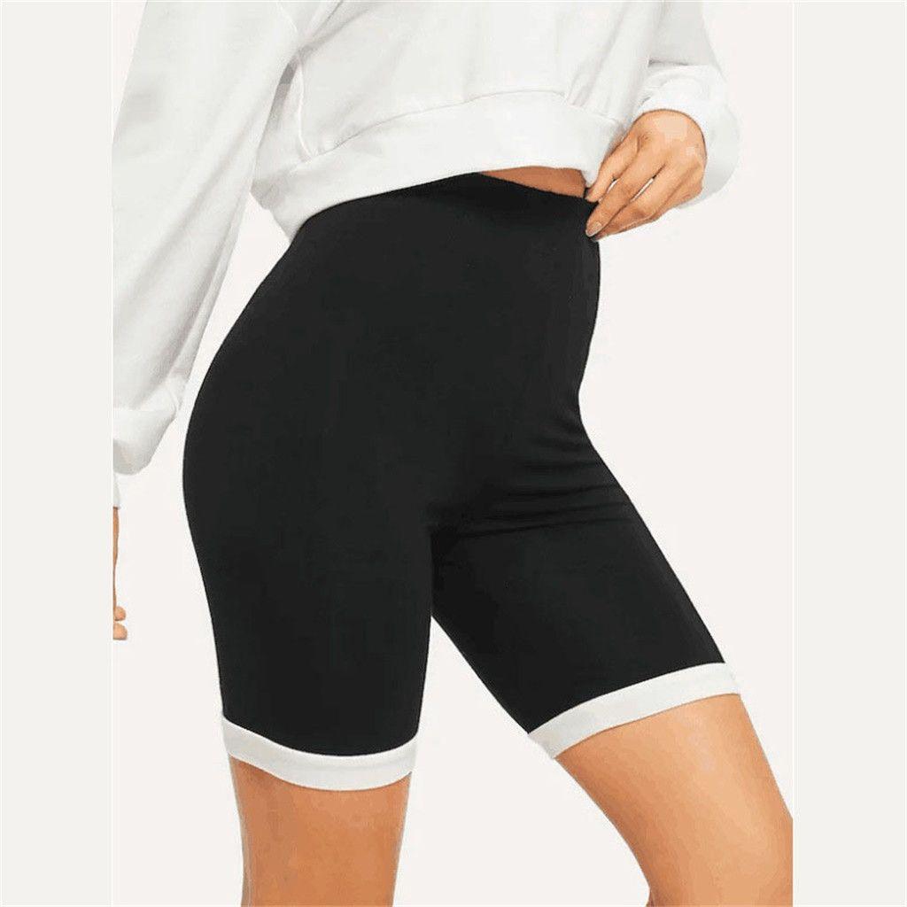 Женщины тренируют ногинги повседневные NY спортивный тренажерный зал Йога атлетический толчок фитнес черные высокие шорты талии