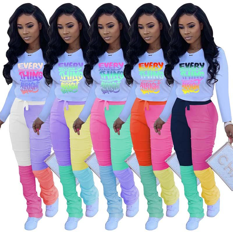 Women Two Piece Set Long Sleeve Tracksuits Ladies 2 Piece Outfits Fashion Tops Pleated Pants Set Autumn Female Casual Outfits 051014