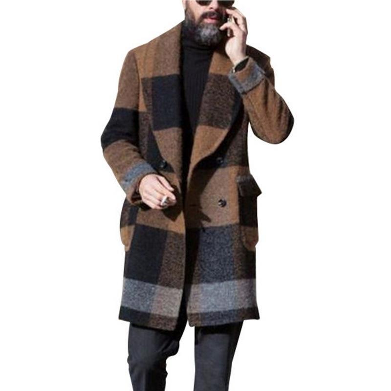 UEFEZO Kış Erkekler Slim Fit Uzun Kollu Hırka Karışımları Ceket Ceket Takım Katı Erkekler Uzun Yün Palto Renkli Çizgili Dış Giyim LJ201110
