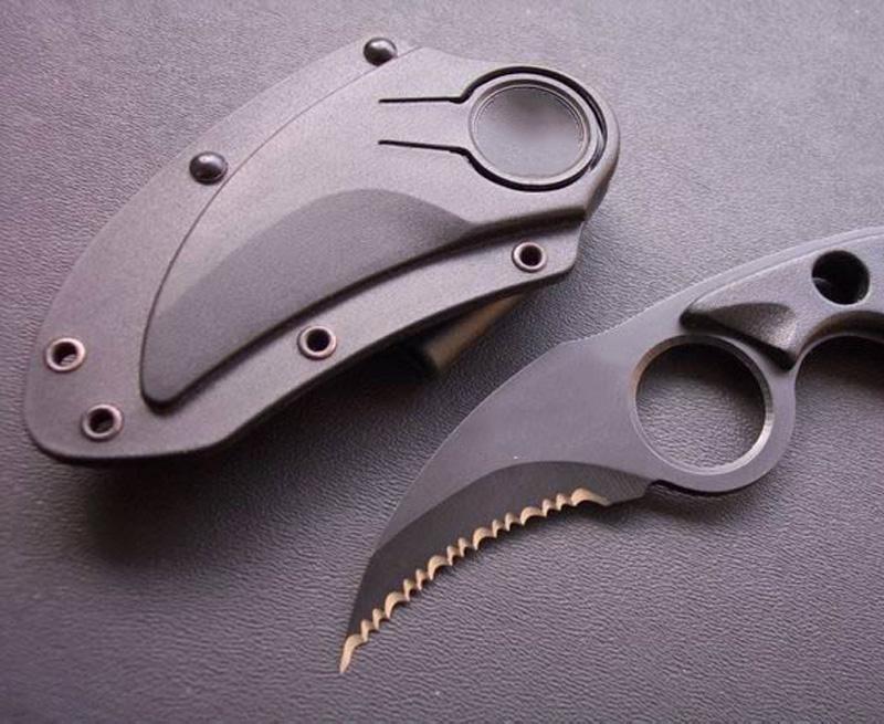 Alta Qualidade Novo Karambit 440C Preto Lâmina Serrilhada Full Tang ABS Punho Plástico Lâmina Fixa Facas de Clade Facas Táticas Com Kydex