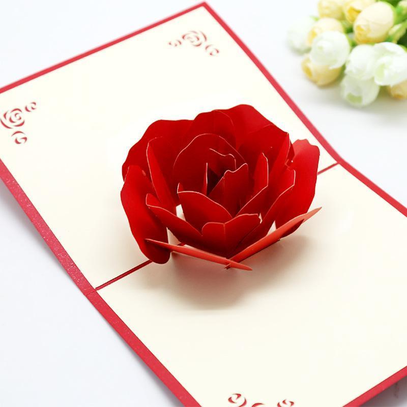 3D Rose Cartões Cartão Dia Valentim Cartão Creative Handmade Valentim Day presentes para as mulheres GWF4444