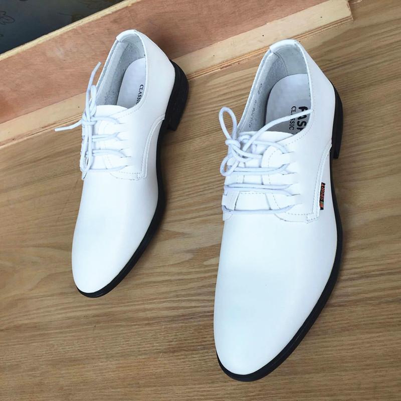 Mazefeng 2020 nuevos hombres otoño del resorte de los zapatos de cuero de los hombres de vestir zapatos de cordones punta estrecha de visita del estilo británico masculino