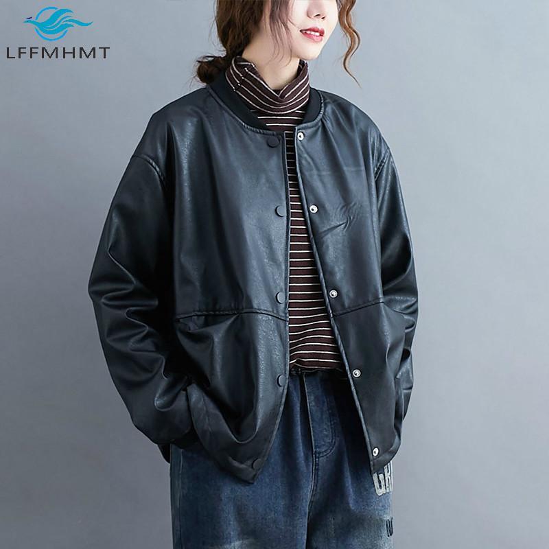 Kadınlar Kış Sonbahar Moda Oversize Uzun Kollu PU deri Beyzbol Yaka Big Cep Siyah Serin Ceket Kadın Casual Gevşek Coats