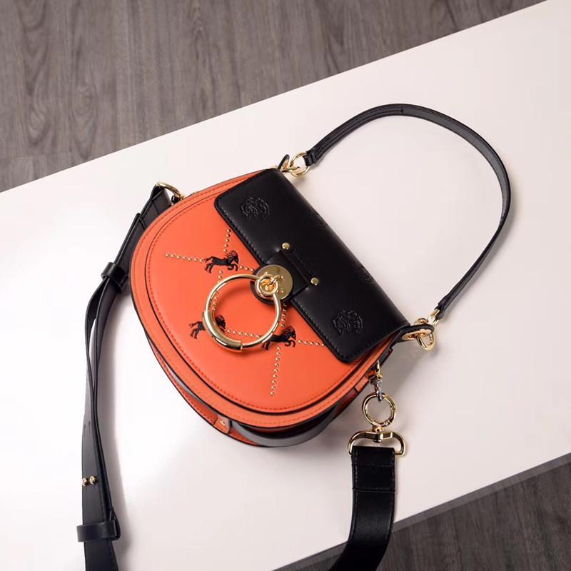 Luxury Women Bags 2020 Designer Brand Saddle Bag Leather Ladies Crossbody Bag Fashion circular Shoulder Bag Vintage Handbag