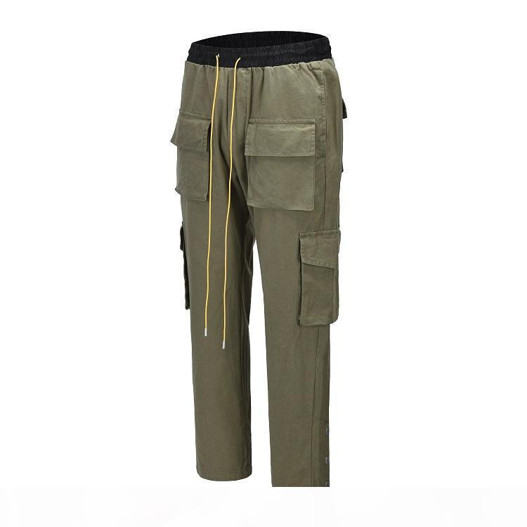 Calças de Carga de Rhude para Homens Mulheres de Alta Qualidade Algodão Harem Moda Designer Sweatpants Moda Casual Pants Soltos XSQ