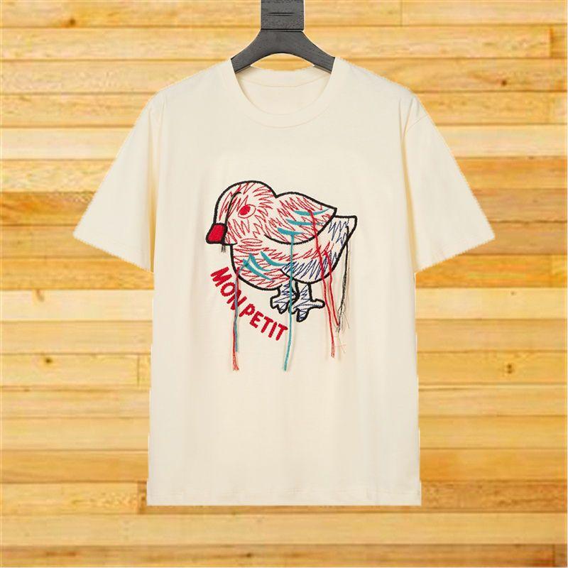 Ünlü Kadın T Shirt 2021 Moda Stylist Kuş Nakış Püskül Kısa Kollu Gömlek Kadın için Rahat Pamuk Tees