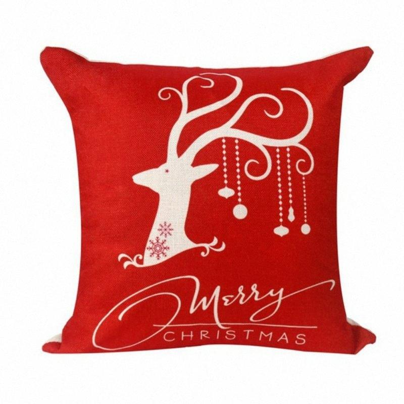45x45cm Taie Décorations de Noël pour la maison du Père Noël de Noël Cerf Coton Lin Oreiller Home Décor de Noël à bas prix Décor S6YW #
