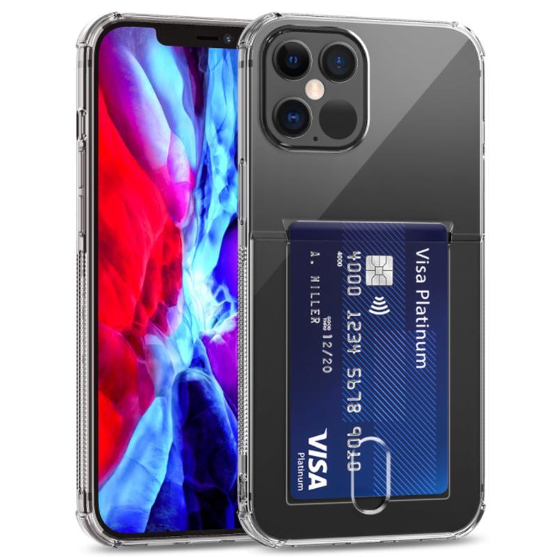 Tarjeta de la caja de la caja del teléfono celular para el iPhone 12 11 Pro 7 8 6 6s más el soporte de la tarjeta Clear Soft TPU Gel Gel Gel Billetera a prueba de choques Free Ship