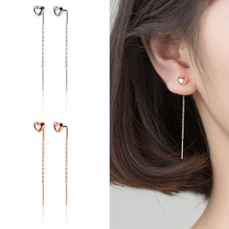 Trustdavis Real 925 Sterling Silver Stud Earring Little Heart Linked 4.5cm Stick For Women Creative Fashion Jewelry Gift DA1684