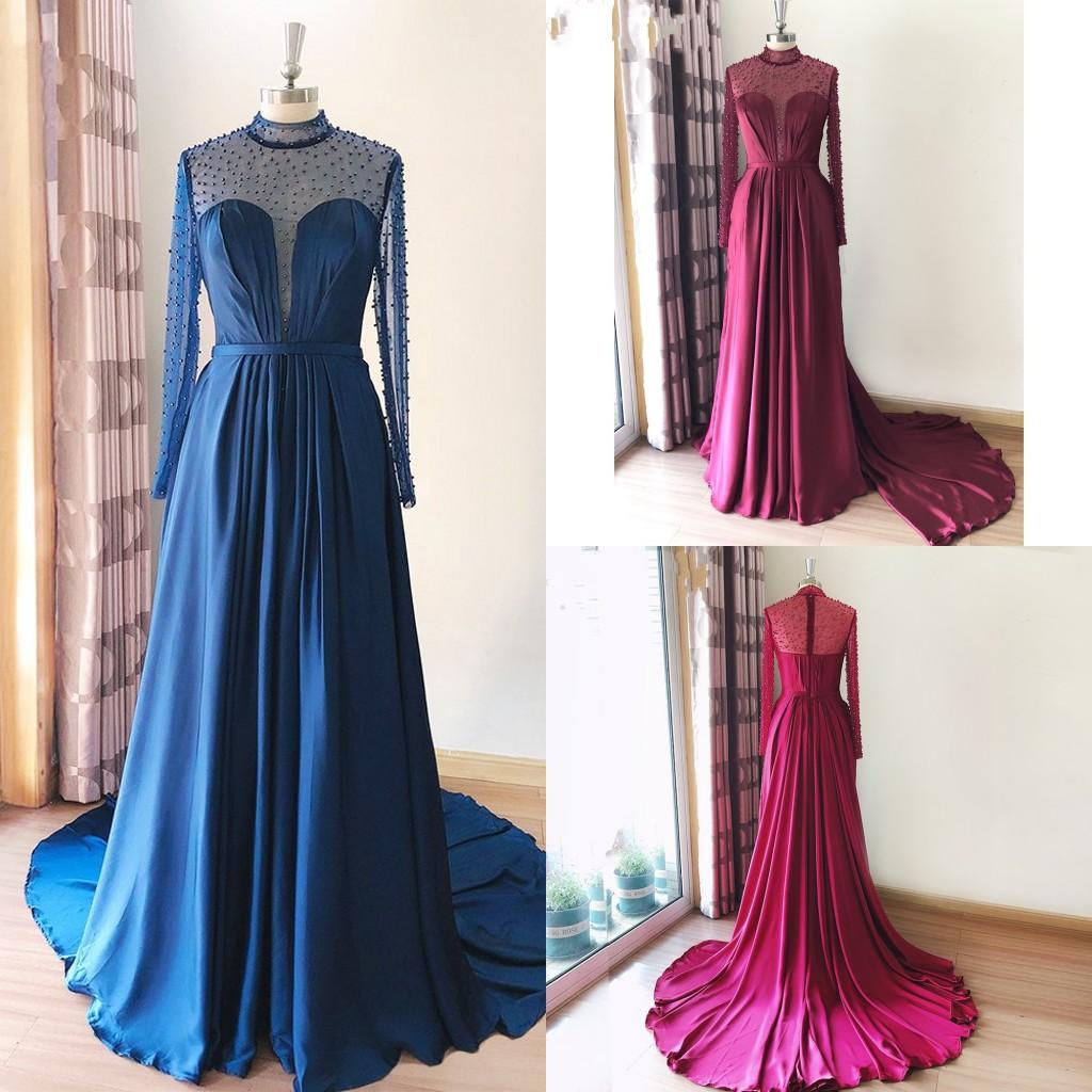 Burgundy Royal Blue Evening Gowns Prom Dresses Long Sleeves Pearls High Neck Sheer Draped Satin Empire Waist Special Occasion Dress Women