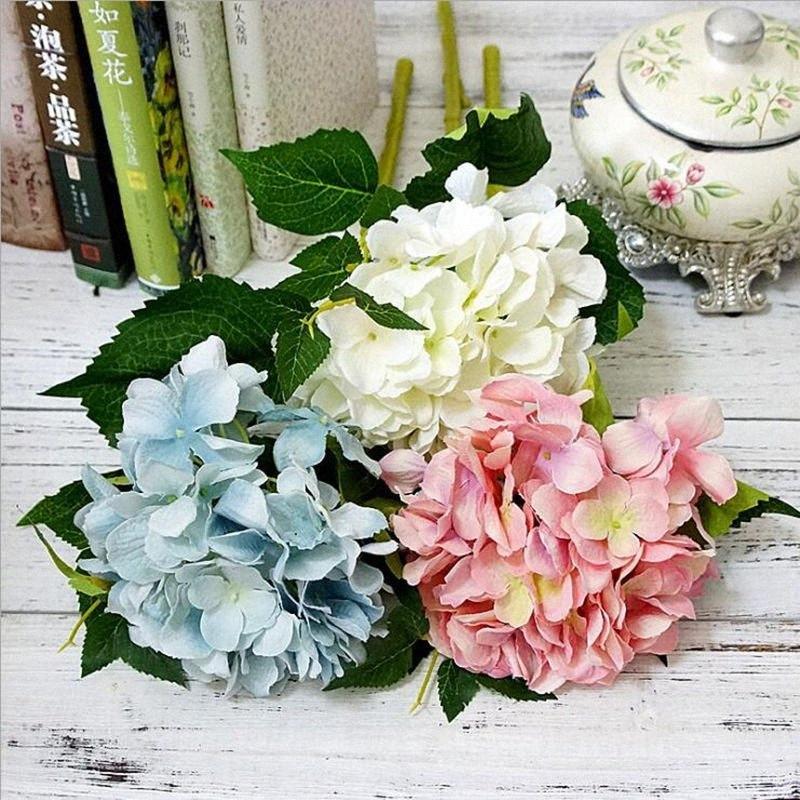Artificielle Hydrangea faux branche fleurs flores pour l'automne fête de mariage l'automne décoration diy Californie Hydrangea couronne bzDM #