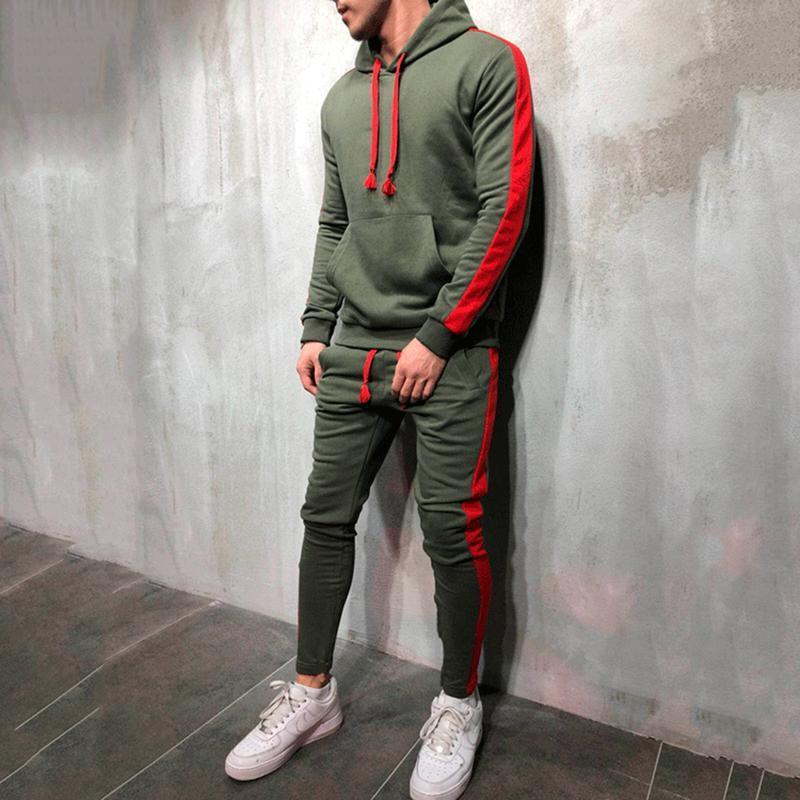 2 штуки наборы трексуита мужчины новая марки осень зима толстовка с капюшоном + брюки на стрижках мужская полоса лоскутное толстовки Bigsweety