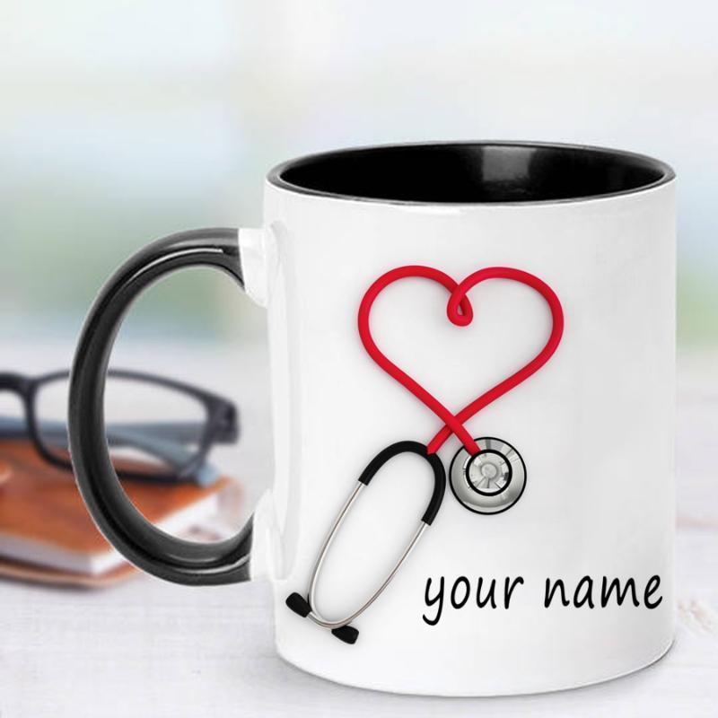 Кружки медсестер и врачей Подарочная кружка Персонализированная кофе стетоскоп забавный уникальный напечатан на обеих сторонах! 1