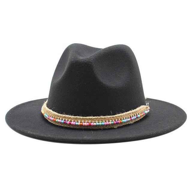 الصوف البسيط خمر فيدورا قبعة الشتاء الخريف سيدة تريلبي فيلت قبعة واسعة بريم جاز الكنيسة قبعات