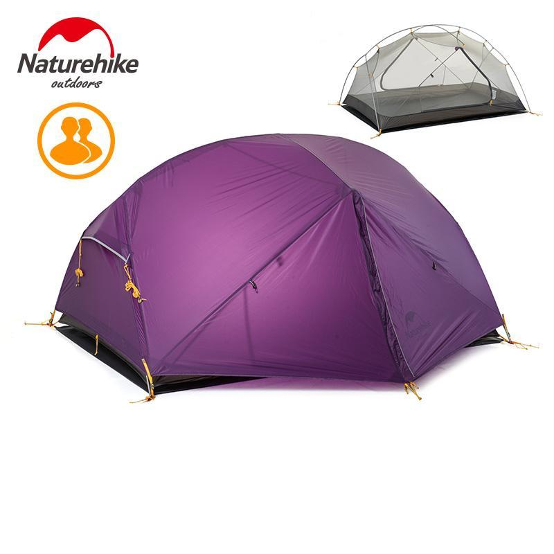 Naturehike Mongar 3 сезон кемпинга для кемпинга для кемпинга Рыболовные пешие прогулки 20D нейлон Фабика двойной слой водонепроницаемый палатка для 2 человек NH17T007-M