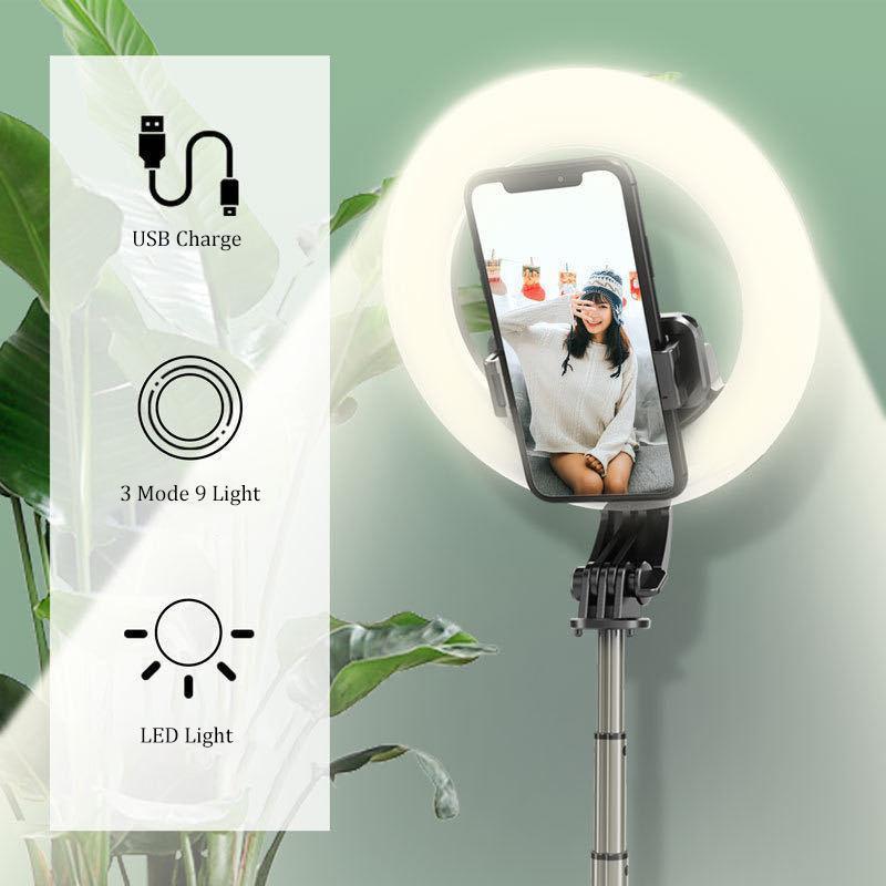 Selfie-Monopoden Wireless Bluetooth-Stick Faltbares Handheld-Remote-Auslöser-Stativ mit 5-Zoll-LED-Ring-Pografie-Licht für Android