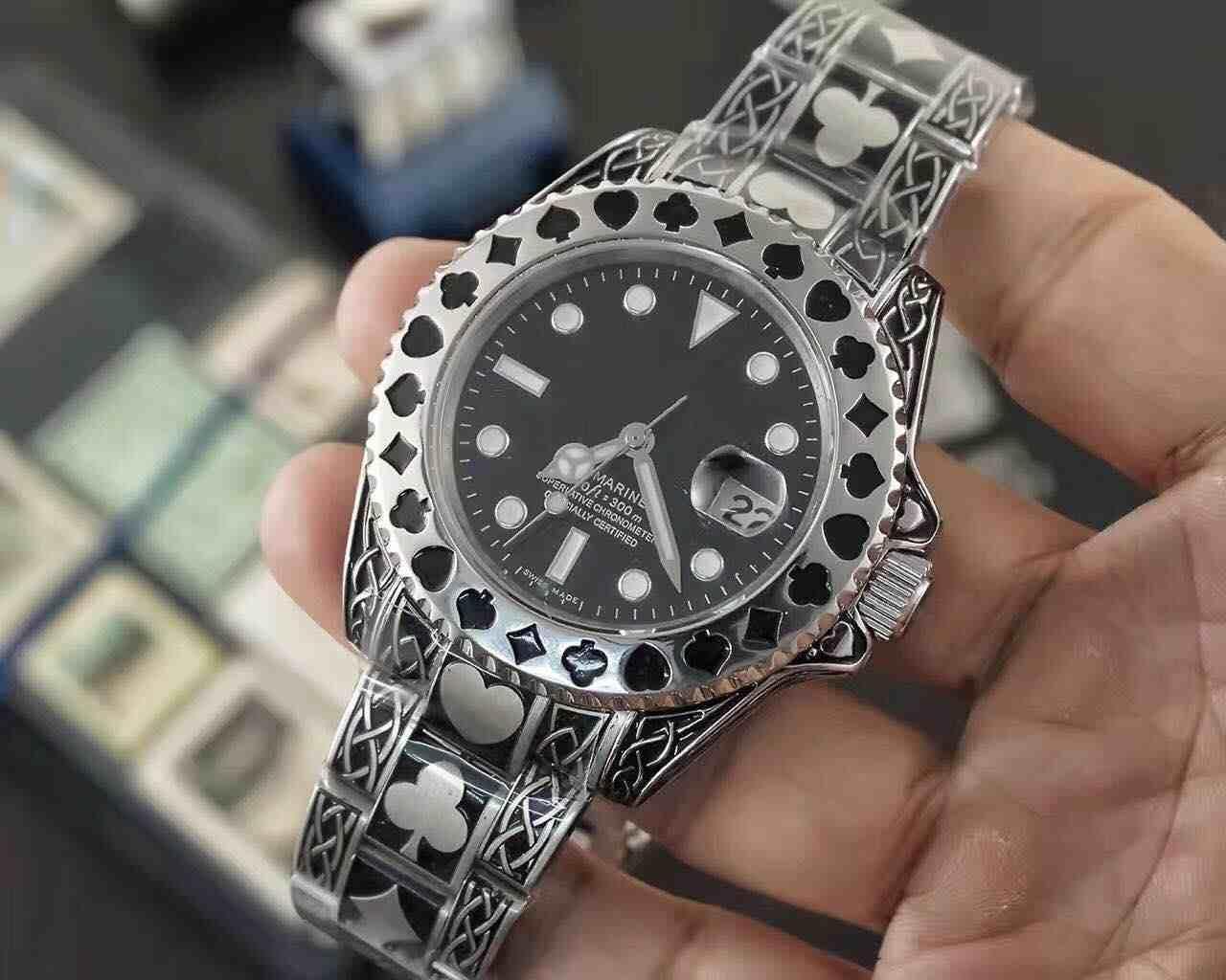 40MM nuovi uomini di polso orologio poker sport top per il tempo libero semplice impermeabile ultra-sottile orologio maschile maschio in acciaio inox personalità automatica m