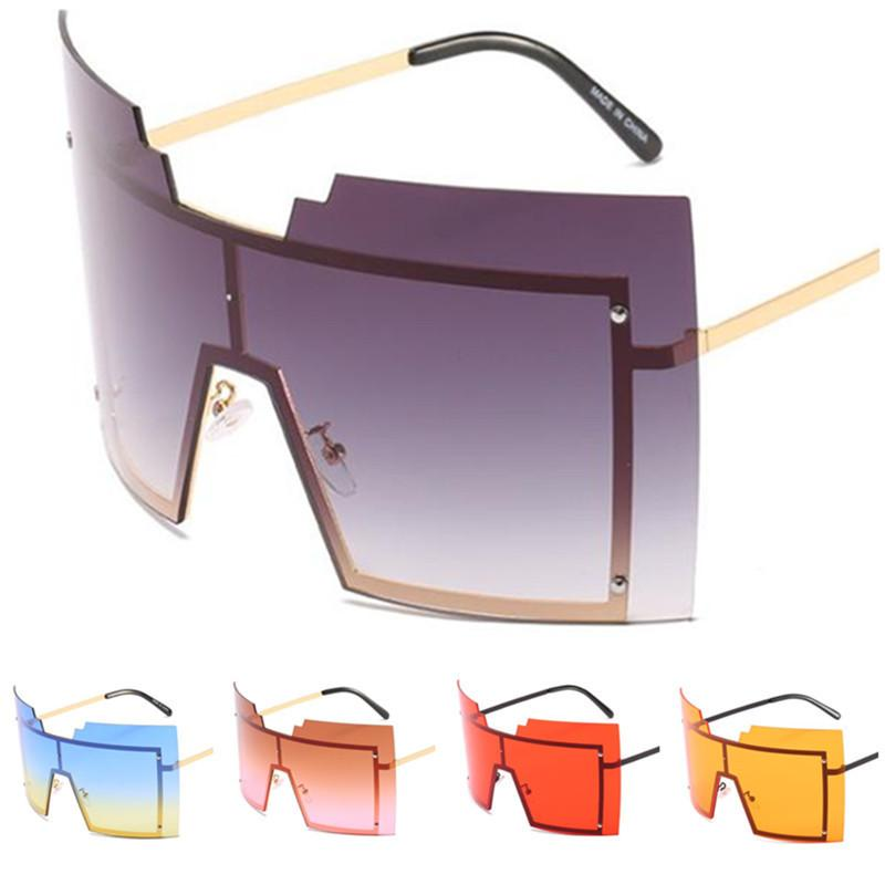 Moda Mujeres Siamese Gafas de sol Personalidad Gafas de gran tamaño Remache Sun Remache A Rimless ++ Lente Eyewear Adumbral Anti-UV Eyeglasse SGPW