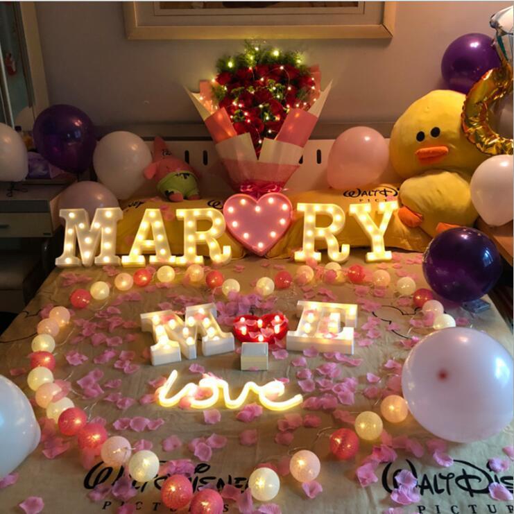 lumières INS photo lettre accessoiriste lumières LED nuit marché de nuit de Noël modèle créatif anniversaire lumières fournitures décorations de mariage de fête