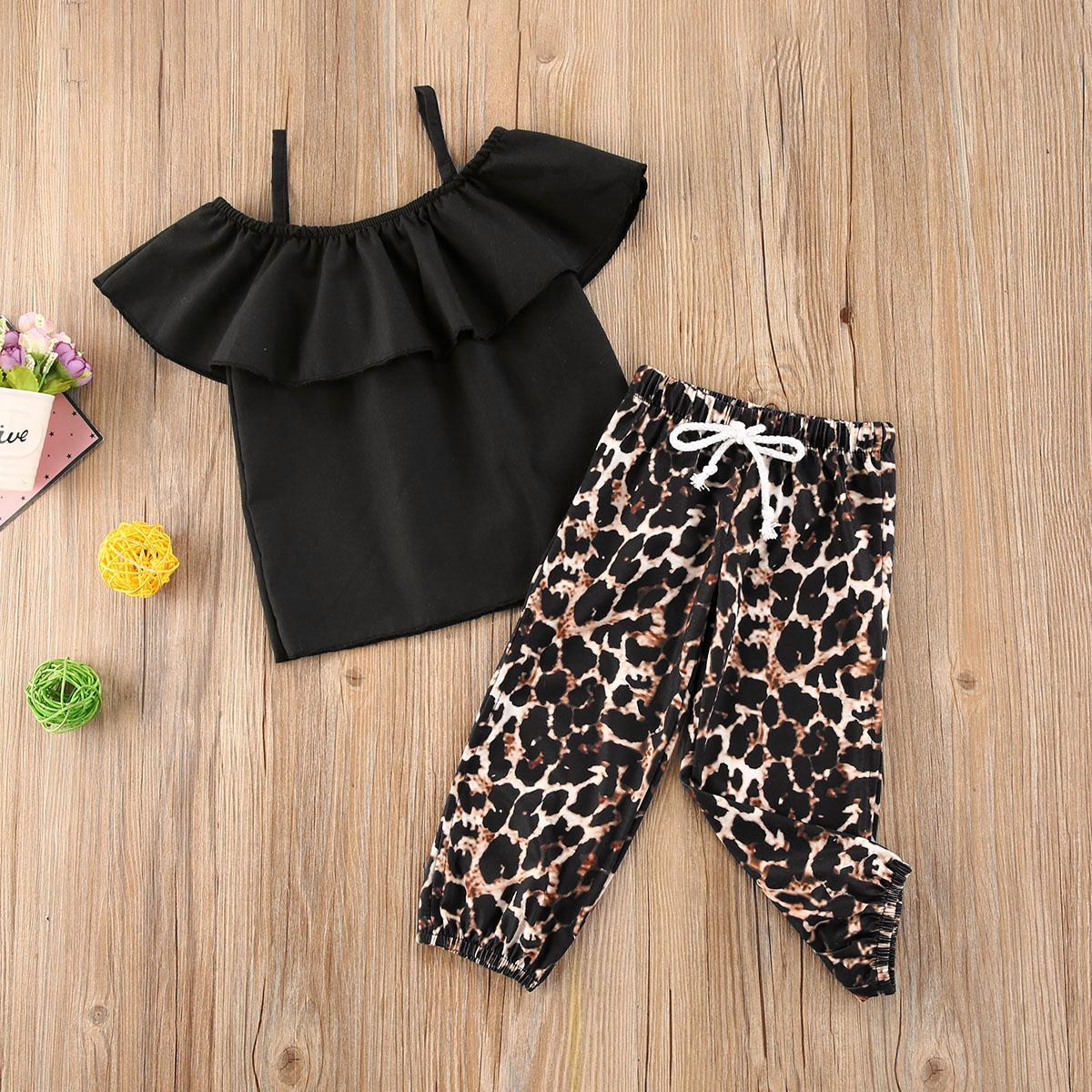 1-5Y Fashion Toddler Kids Baby Girl Clothes Sets Off Shoulder T-shirt Tops+Ruffles Skirt Outfit Clothes