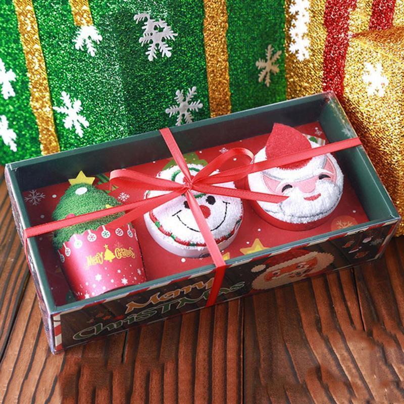 30cm Père Noël Bonhomme de neige de broderie de petit gâteau Modeling Coton main Serviette cadeau de Noël Décoration de Noël