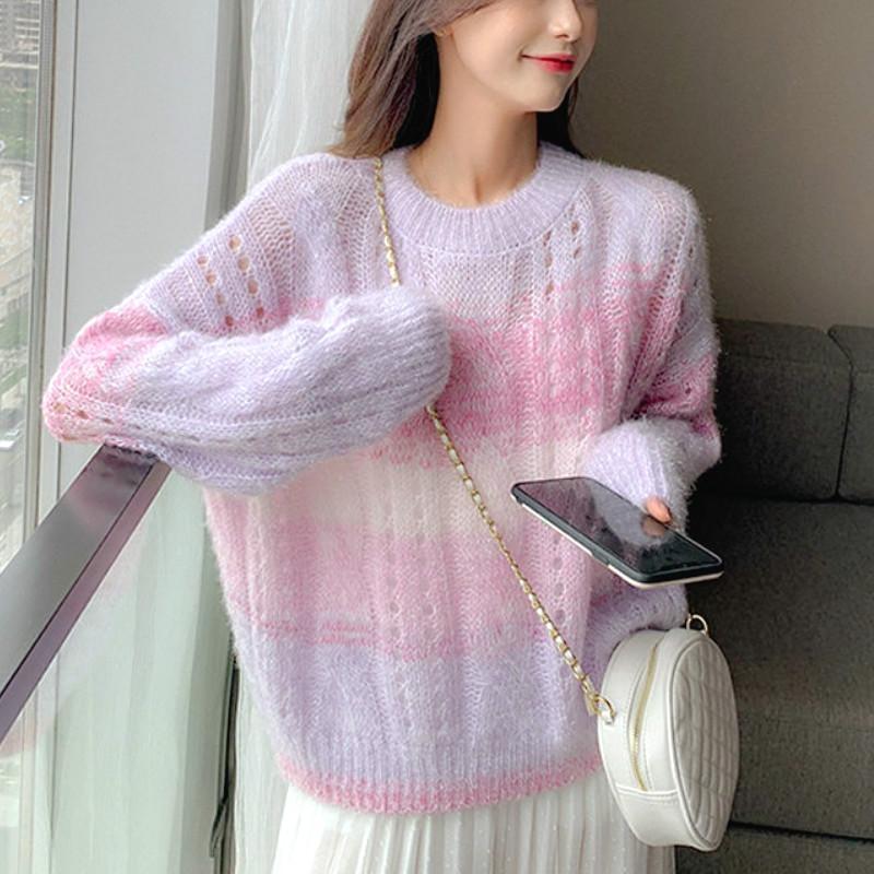 Maglioni da donna maglione maglione maglione maglione donne arcobaleno dolce allentato manica lunga chic casual abbigliamento coreano autunno 2021