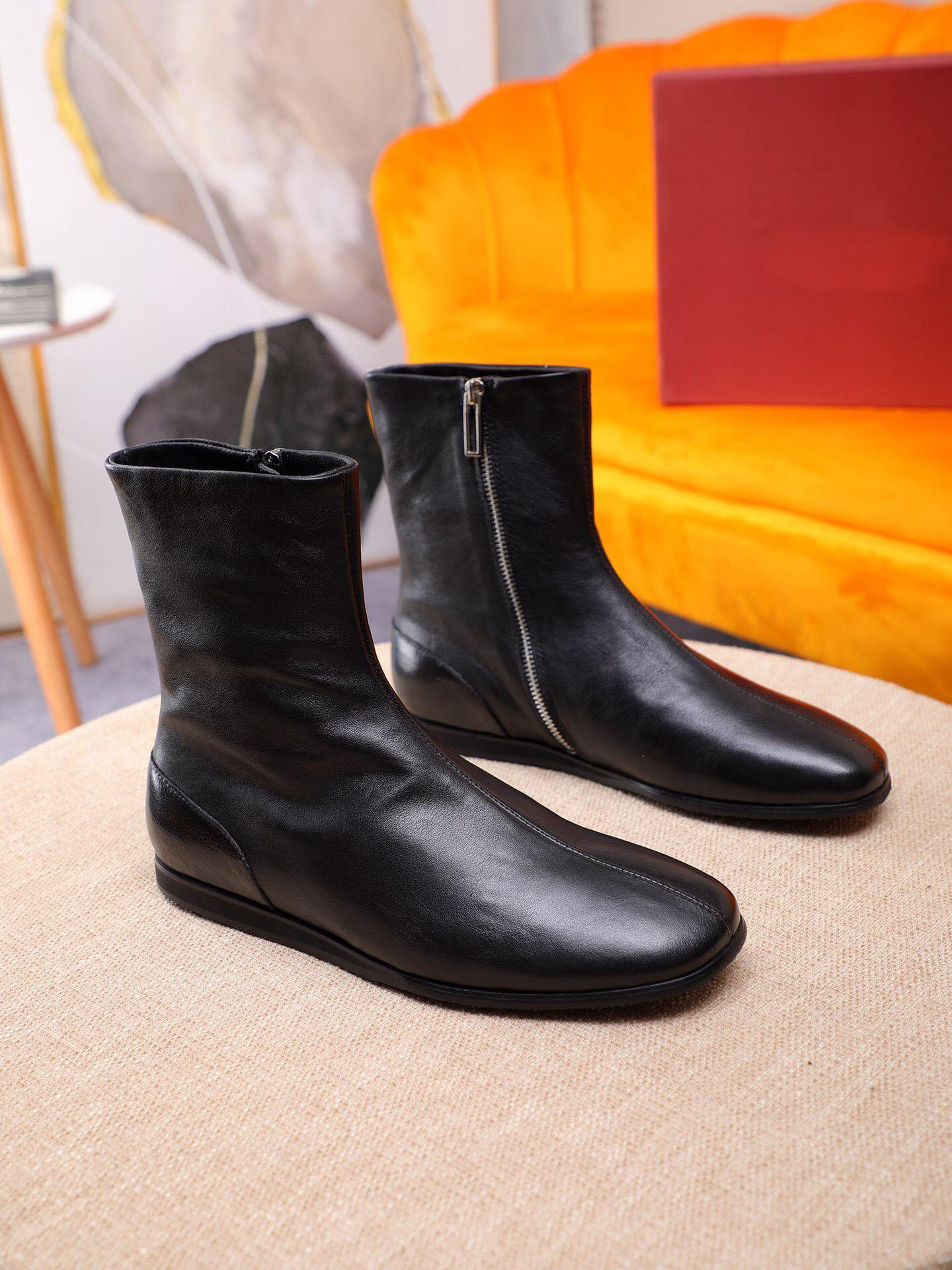 2020 Partido Designer Mens Moda Couro Business Flats calçados casuais Marca Handmade Masculino Botas Tamanho 38-45