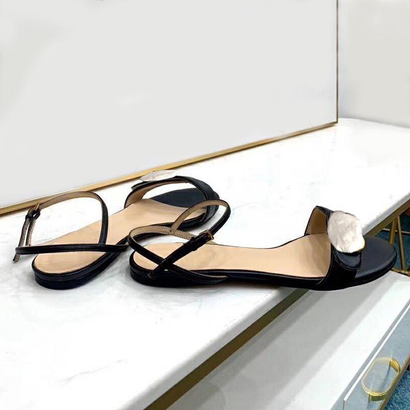 Sandales d'été Mesdames Belles chaussures plats pour femmes Lace-up cuir design de designer un mot avec boucle à la mode chaussures pour femmes ComfortAtab