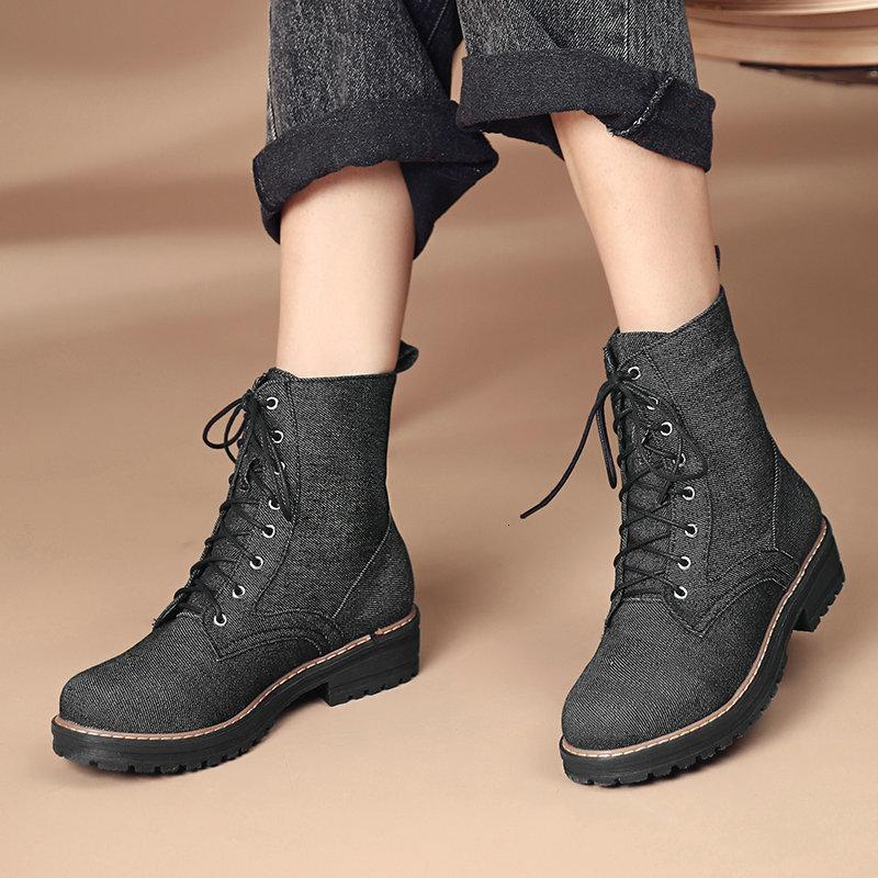 2021 New Autumn Winter Round Toe Ankle Boots Cross-tied Square Heel Fashion Quality Denim Women Shoes Size 34-43 Av13