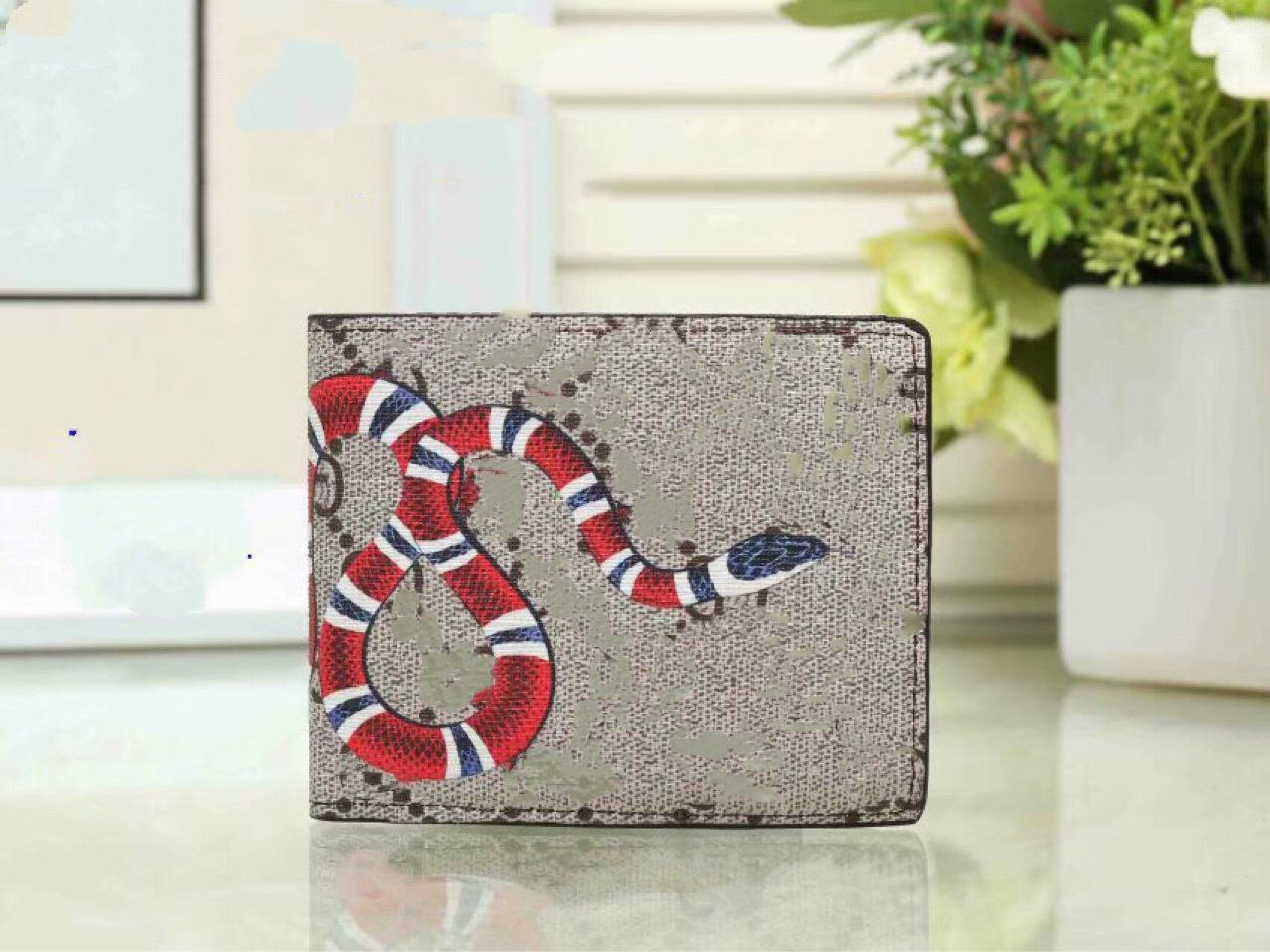 Top quality men animal Short Wallet Leather black snake Tiger bee Wallets Women Long Style Purse Wallet card Holders with gift box DHL Free