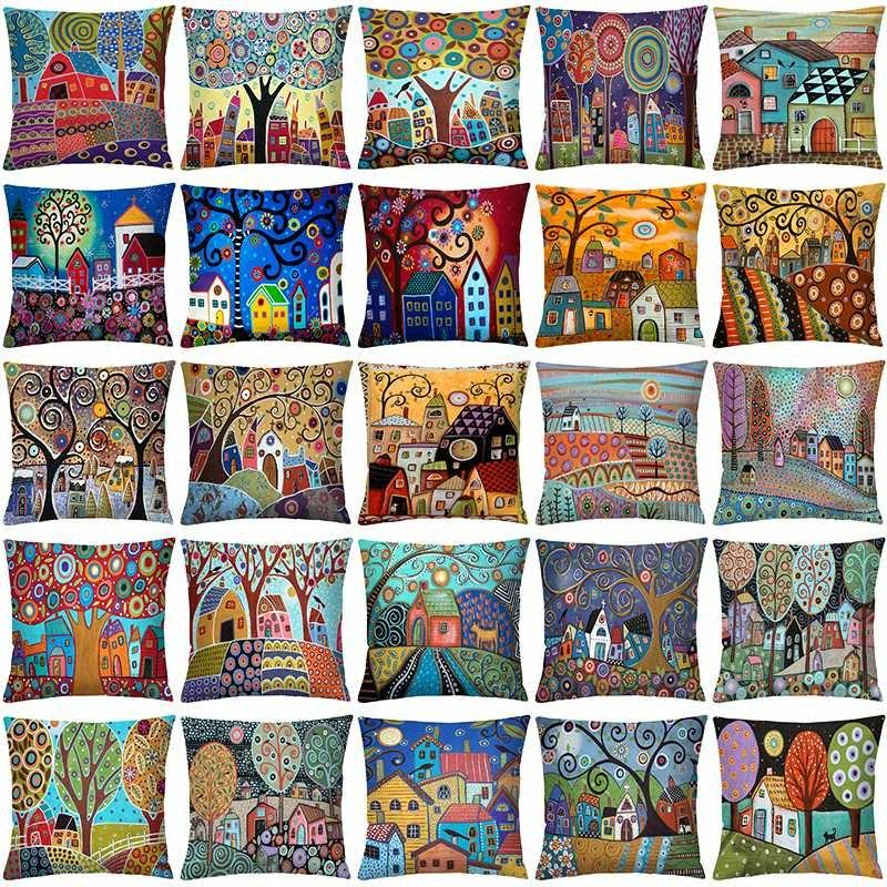 Boniu Cartoon Plant Painting Pillow Covers Tree Building Polyester Square Cushion Cover Funda Cojines For Sofa Home Decor 45cm uFMq#